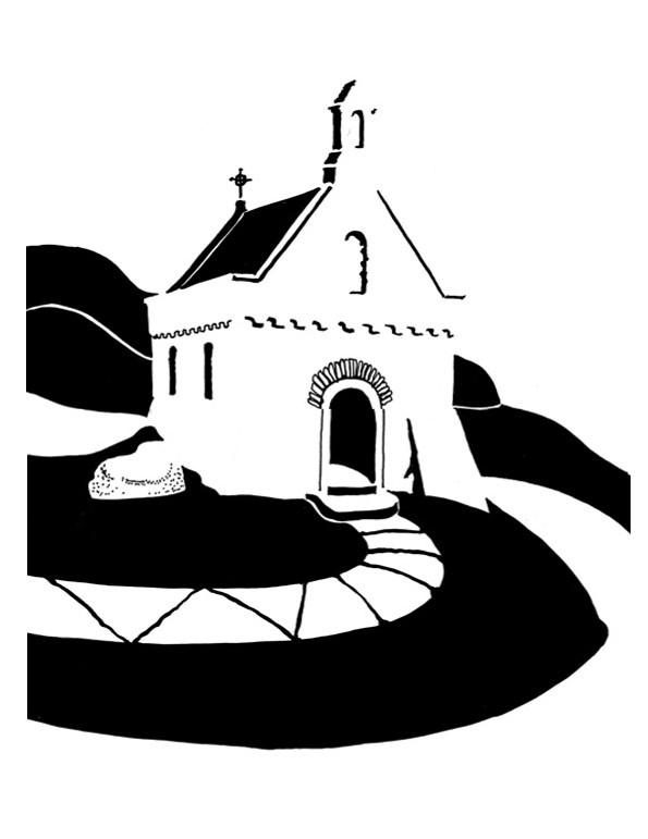Black and white image of tiny seaside chapel