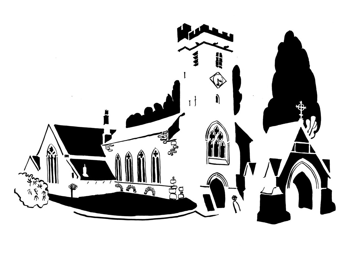 Black and white image of long church and gatehouse