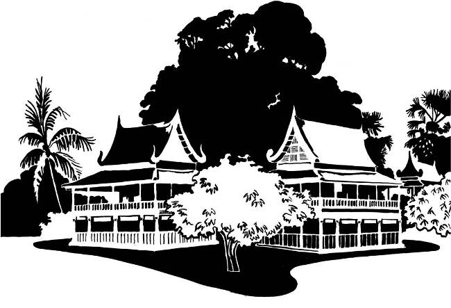 Black and white image of twinned Thai pavilions