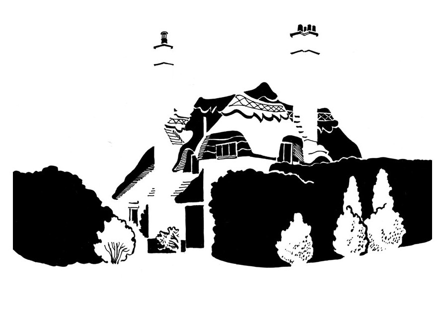 Black and white image of thatched cottage with tall chimneys