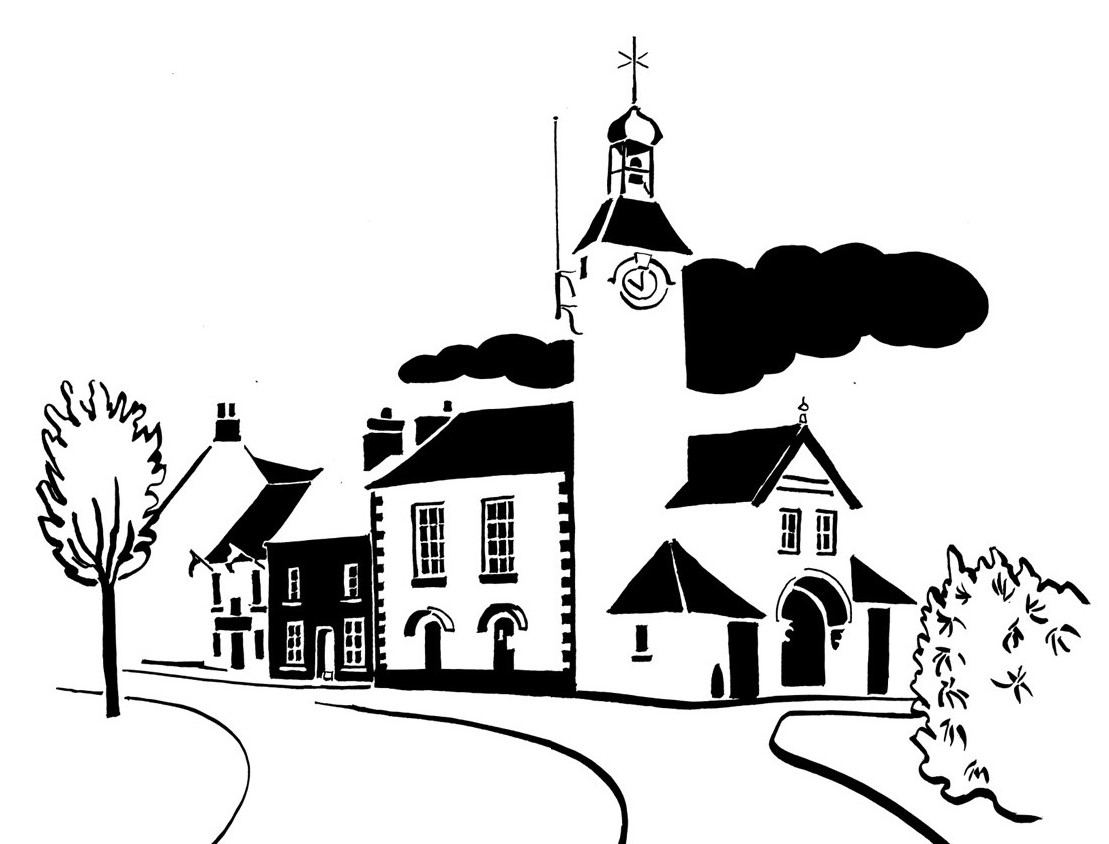 Black and white image of town hall with eccentrically shaped tower