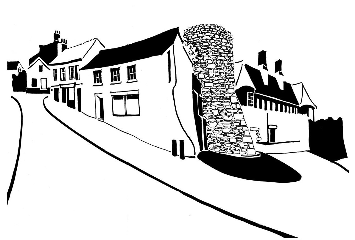 Black and white image of houses and town walls