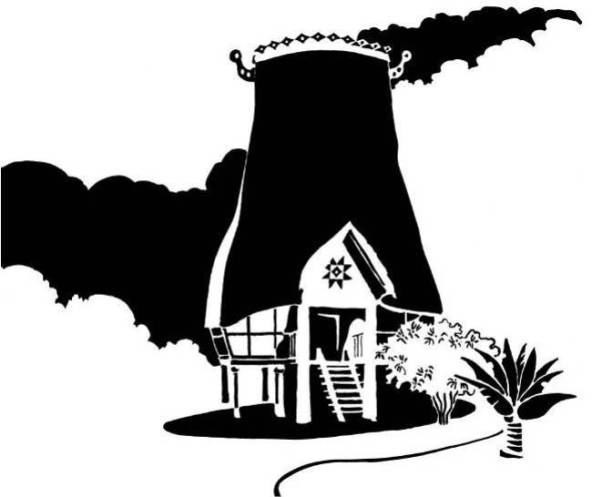 Black and white image of tall thatched tropical hut