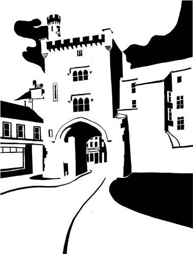 Black and white image of town gatehouse