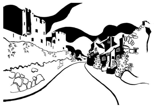 Black and white image of castle with old stone houses opposite