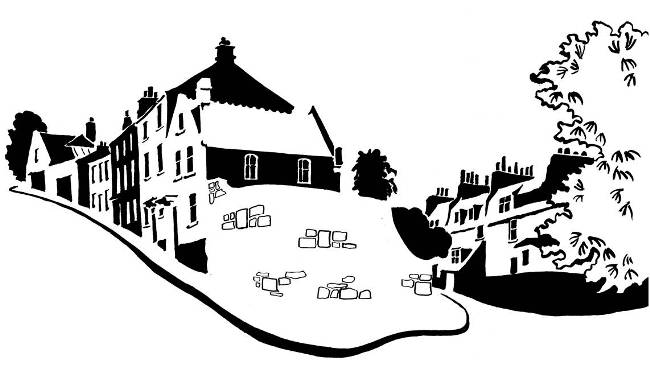 Black and white image of medieval street houses with Georgian houses behind