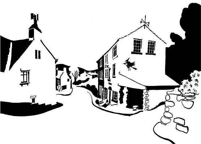 Black and white image of hillside village with witch wall painting